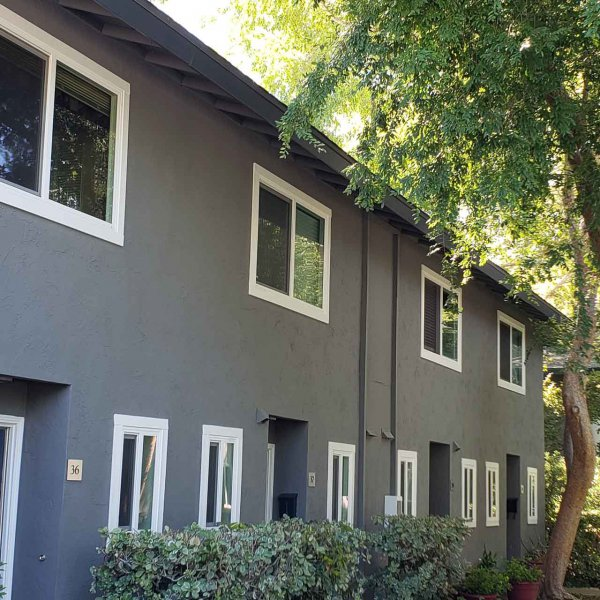 Sycamore Green Apartments: Two-story Townhouse Building, grey with white trim